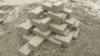 Brick design sandcastle made by Calvin Seibert