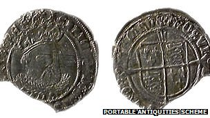 Two of the 14 coins dating from the 16th Century