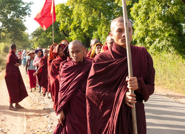 Monywa Mine Monks Farmers March