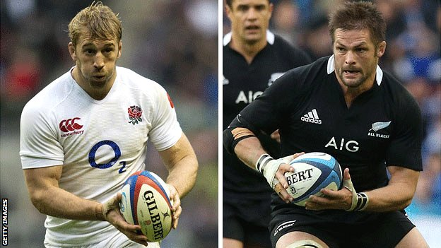 England captain Chris Robshaw and New Zealand counterpart Richie McCaw