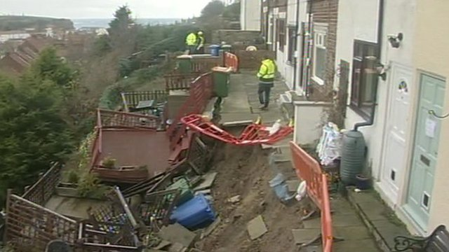 Homes in Whitby affected by a landslide