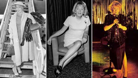 A composite image showing Christine Jorgensen soon after her operation, in 1970, and then as an older woman. Images AP
