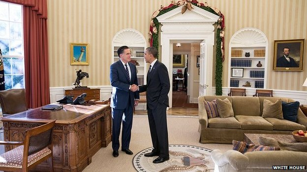 Mitt Romney and Barack Obama in the Oval Office 29 November 2012