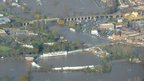 Aerial shot of New Road, home of Worcestershire County Cricket Club, in the floods of November 2012