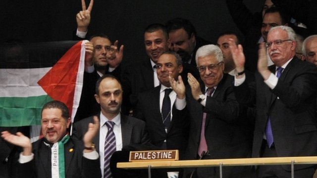 Palestinians celebrate at UN