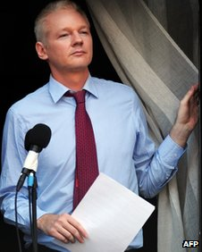 Wikileaks founder Julian Assange at the Ecuadorian embassy in London on 19 August 2012