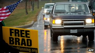 The Bradley Manning Support Group protests outside Fort Meade, Maryland, on 27 November 2012