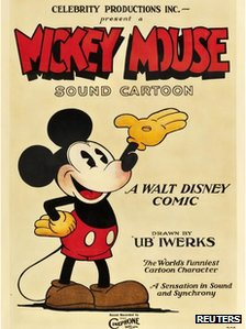 A 1928 film poster of Mickey Mouse