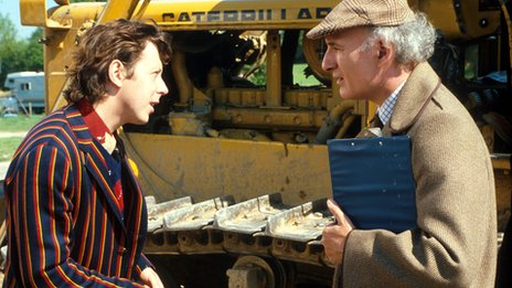 Joe Melia, right, with David Dixon as Mr Prosser and Ford Prefect in Hitchhikers Guide to the Galaxy