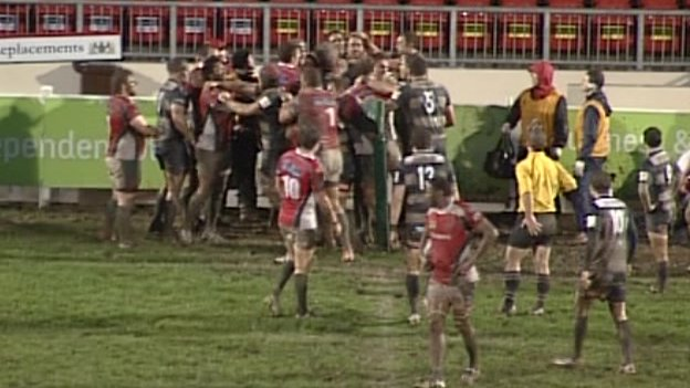 Plymouth Albion and Bristol players fight
