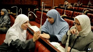 Female members of the constituent assembly in Cairo. 29 Nov 2012