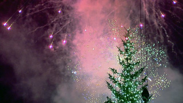 Fireworks over a Christmas tree