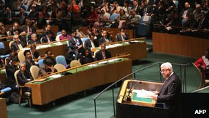 Palestinian Authority chairman Mahmoud Abbas addressing the UN General Assembly before a vote on 29 November on whether to recognise the Palestinians as a non-member observers state