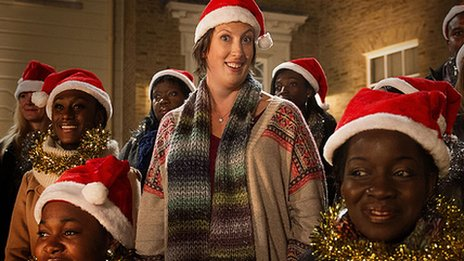 Miranda Hart in Christmas hat