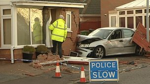 Car crashed into the house in Peterborough