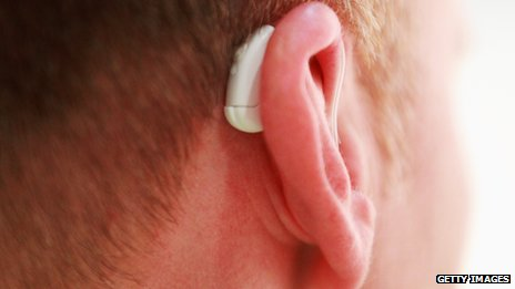 Man wearing hearing aid