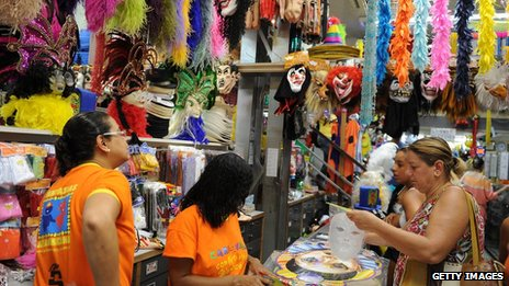 Shoppers at a carnival market in Rio de Janeiro