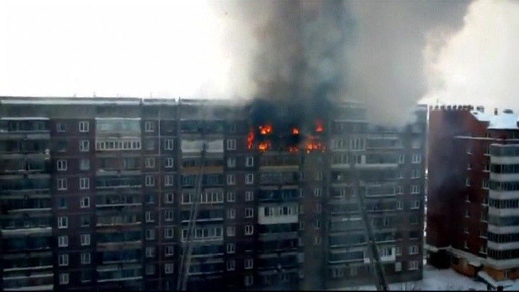 Apartment block on fire in the Siberian city of Tomsk