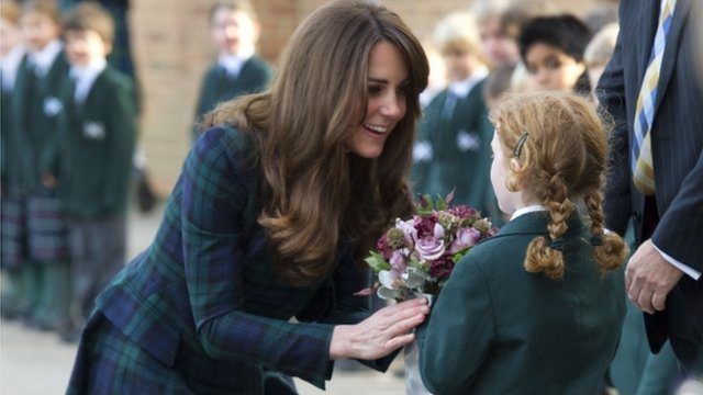 The Duchess of Cambridge meets pupils