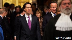 Robert Rogers leading Prime Minister David Cameron and Ed Miliband to the House of Lords for the state opening of Parliament