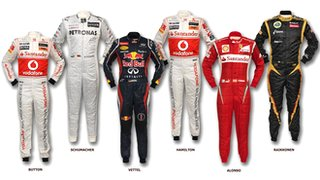 Six world champion&#039;s race suits