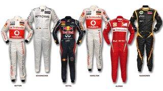Six world champion's race suits