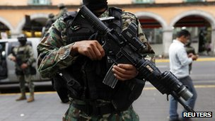 Marine stands guard in Veracruz. 26 Nov 2012