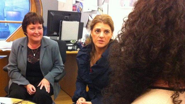 Rhoda Grant MSP, BBC Scotland's Fiona Walker and a woman interviewee