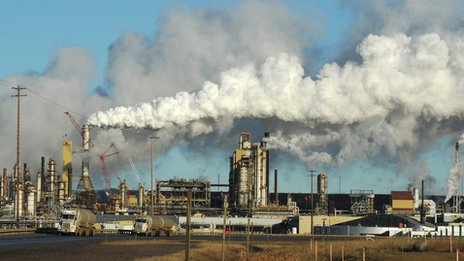 Syncrude oil sands extraction facility in Alberta, Canada