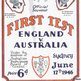 The programme for the first Test match in Sydney