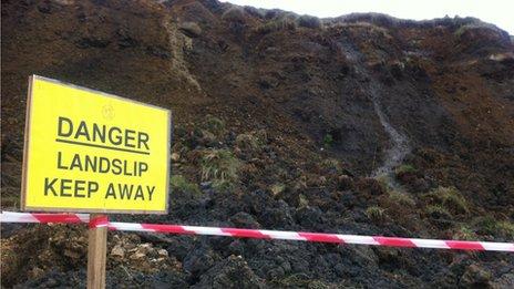 Cliff warning sign