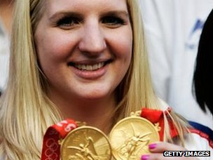 Team GB swimmer Rebecca Adlington with her 2008 Olympic gold medals