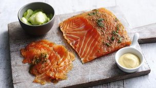 Homemade gravad lax with cucumber salad and mustard sauce