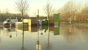 Queen's Road park and ride site in Nottingham under water