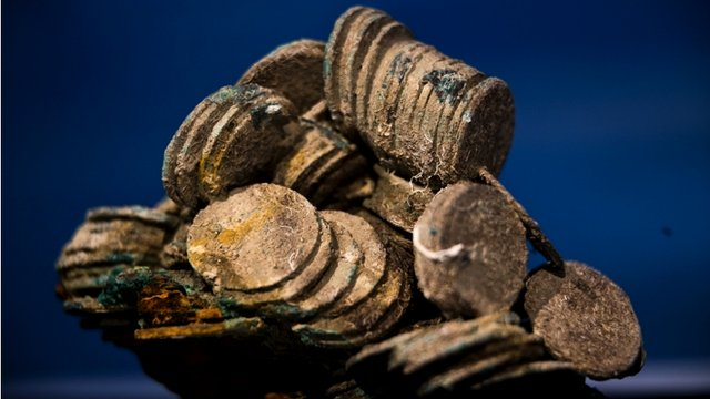 A block of encrusted silver coins from the shipwreck of the 1804 galleon