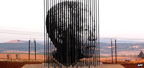 A sculpture of former South African President Nelson Mandela, south of Durban