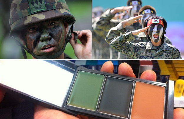 Camouflage make-up and soldiers