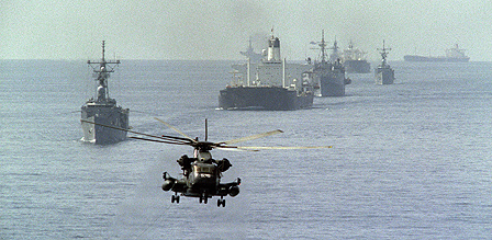 Kuwait oil tanker escorted by US navy during Iran-Iraq war