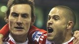 Dean Whitehead (left) and Michael Kightly celebrate Stoke's winner
