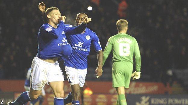 Leicester City&#039;s Martyn Waghorn (left) celebrates his goal against Derby County