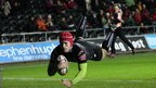 Full-back Richard Fussell dives over the line for Ospreys' second try of the game in the opening minutes of the second half.