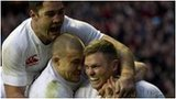 England celebrate Chris Ashton's try