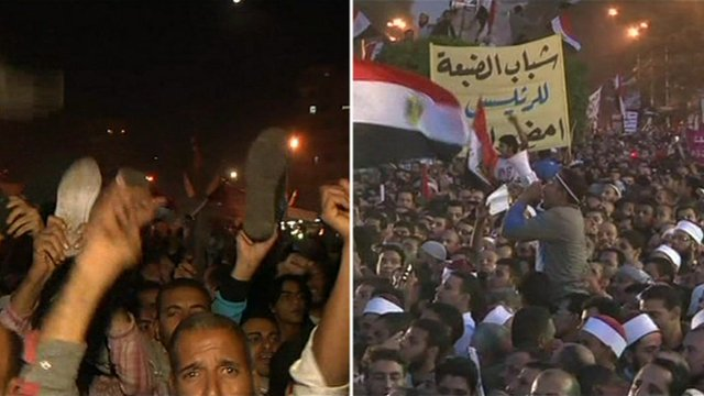 Split picture of pro and anti Morsi demonstrators