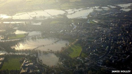 Aerial shot of floods in Oxford PHOTO: James Holley