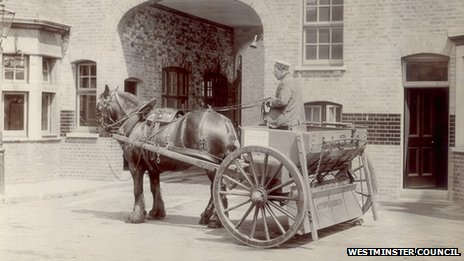 Horse and gritting cart