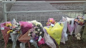 Floral tributes at the scene of the accident