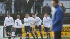 Glenavon celebrate Ciaran Martyn's goal which put them into the lead away to Coleraine