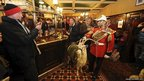 Regimental goat, Shenkin, the retiring Goat Major Sgt David Joesph, and rugby international match-day drinkers at the Goat Major pub in Cardiff