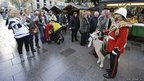Shenkin and Goat Major Sgt David Joseph attract the attention of shoppers in Cardiff city centre