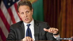 "Treasury Secretary Timothy Geithner answers questions about averting the ""fiscal cliff"", file pic from CBS News, 30 November 2012"
